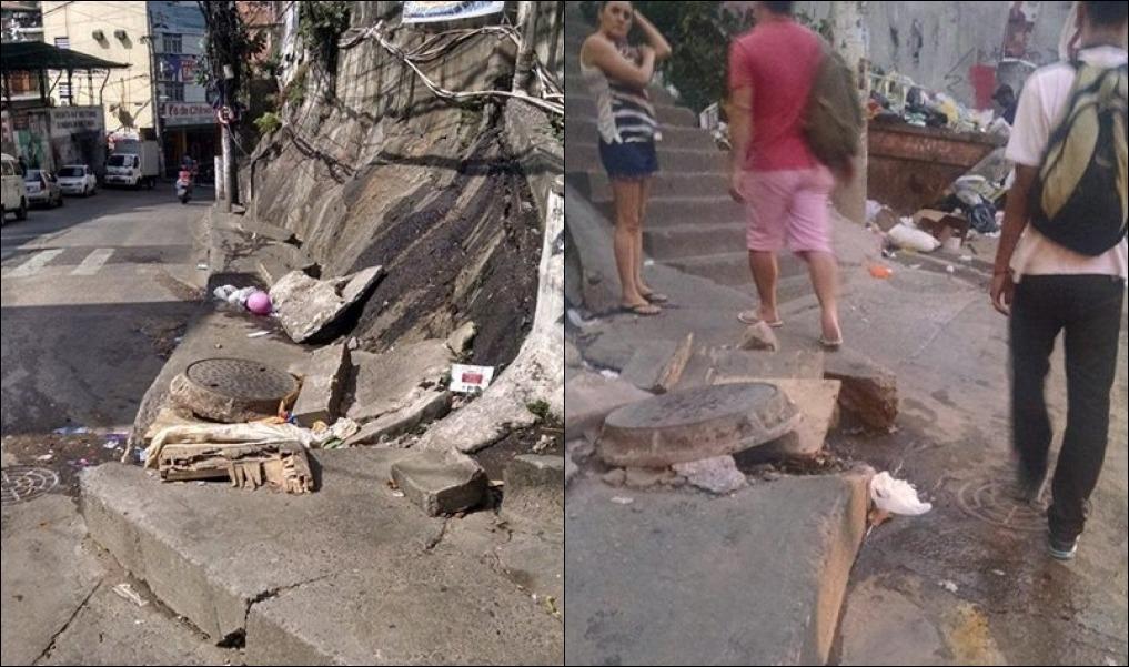Calçada obstruída obriga moradores a andarem na via. (Foto: Michel Silva/Viva Rocinha)