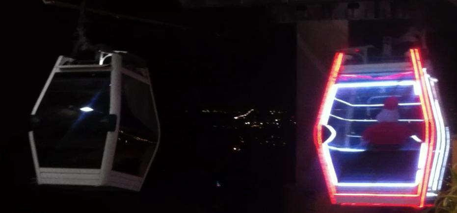 Três cabines do Teleférico do Alemão ganham iluminação especial de natal