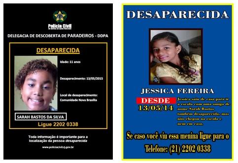 Familiares pedem ajuda para encontrarem duas crianças desaparecidas no Alemão