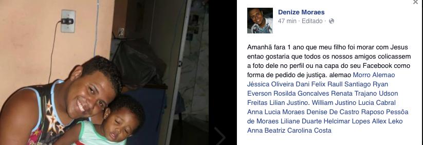 Mãe de mototaxista morto no Alemão, pede os moradores para colocarem foto do filho em seus perfis