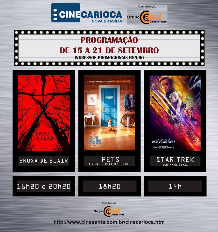 Programação do cinema da Nova Brasília – 15 a 21 de Setembro