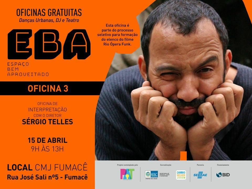 Projeto 'EBA' oferece oficina gratuita de interpretação com diretor Sérgio Telles no Fumacê