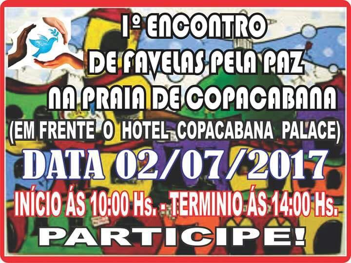 I Encontro de favelas pela paz será realizado em Copacabana