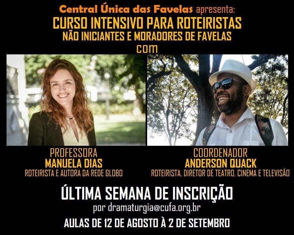 Central Única das Favelas (CUFA) está com vagas abertas para curso gratuito de roteirista