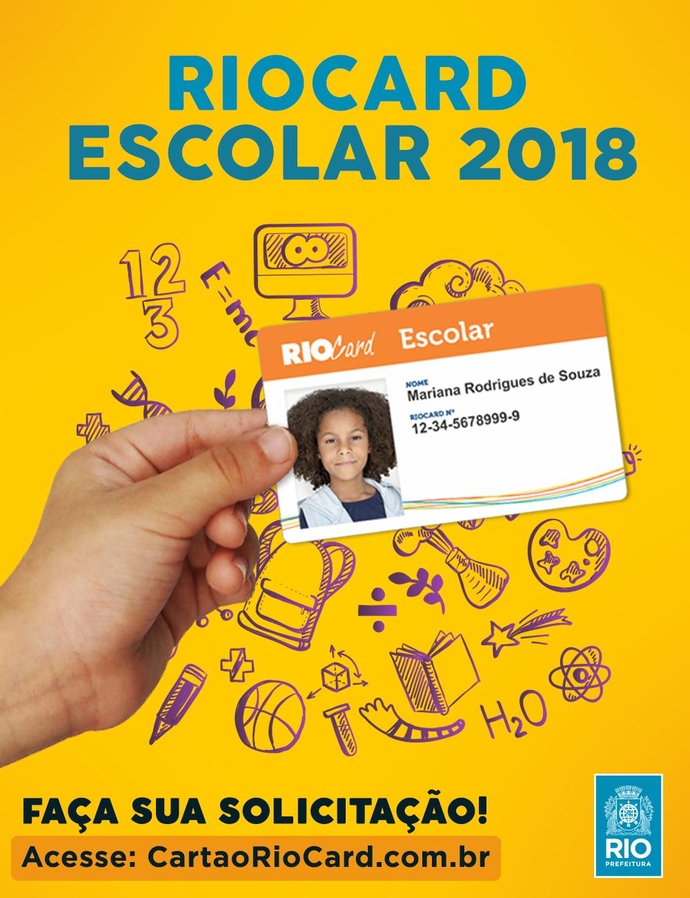Alunos da rede pública de ensino já podem pedir RioCard Escolar 2018
