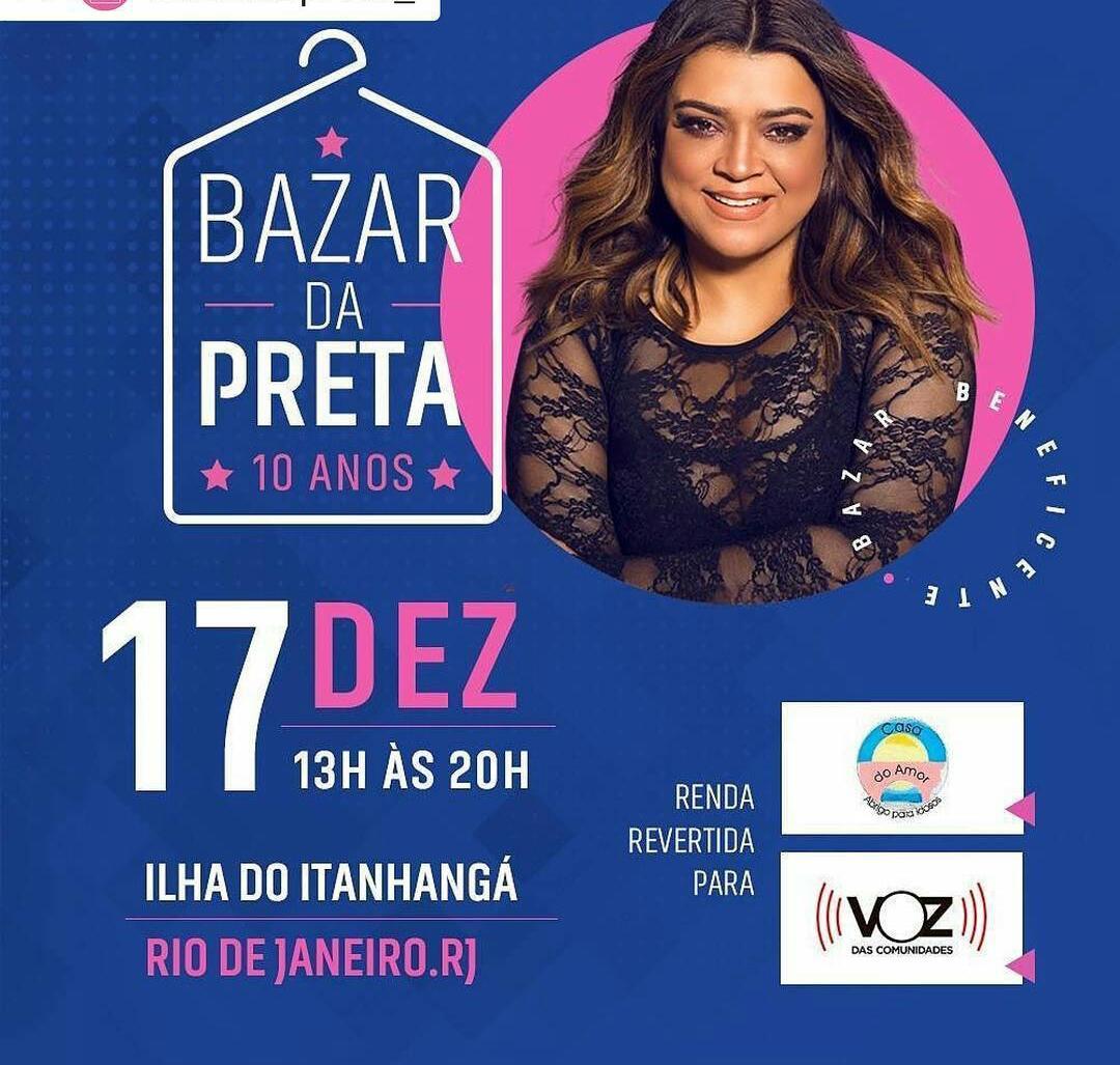 """Preta Gil realizará bazar beneficente para campanha """"Por Um Natal Melhor"""""""