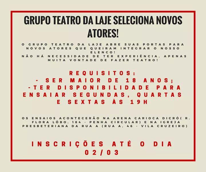 Grupo Teatro da Laje oferece oficinas gratuitas na Penha