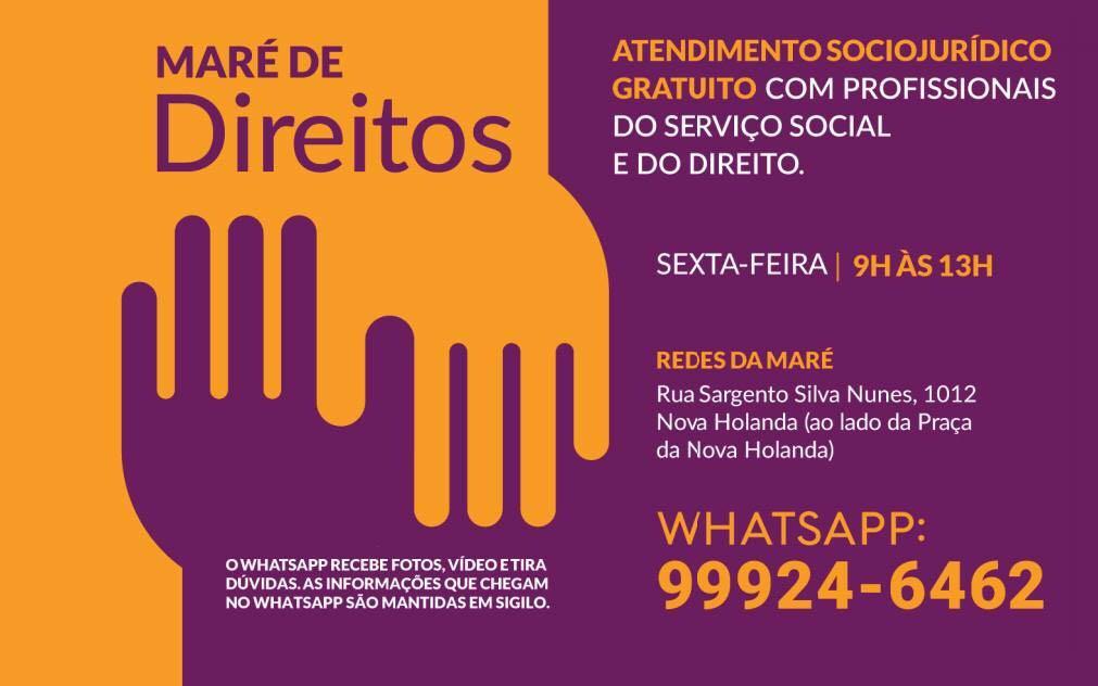 Atendimento Sócio-Jurídico gratuito no Complexo da Maré, nesta sexta-feira (23)