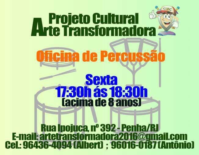 Projeto oferece curso grátis de percussão na Penha