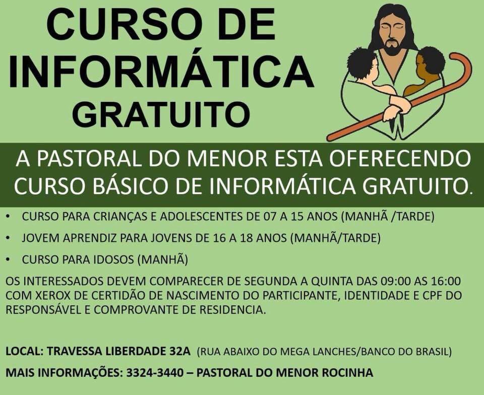 Pastoral do Menor oferece curso básico de informática gratuito, na Rocinha