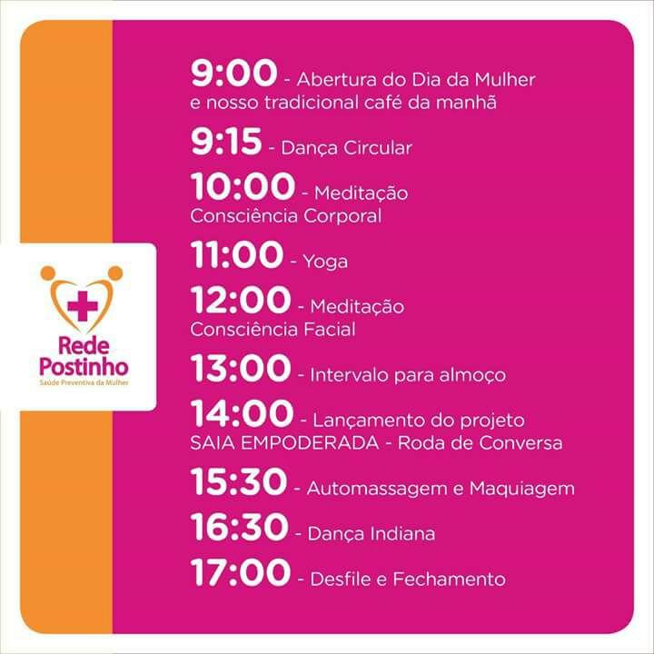 Rede Postinho de Saúde oferece atividades para comemorar Dia Internacional das Mulheres, no Cantagalo