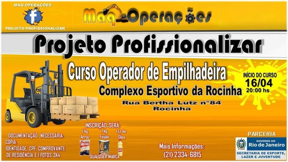 Projeto oferece curso gratuito de operador de empilhadeira, na Rocinha