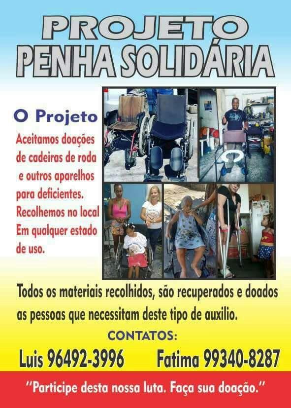 Projeto Penha Solidária recolhe doações de aparelhos para deficientes físicos e distribui para quem mais precisa