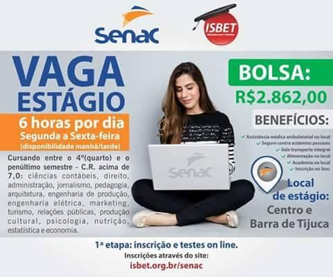 SENAC abre vagas de estágio para universitários do Rio de Janeiro