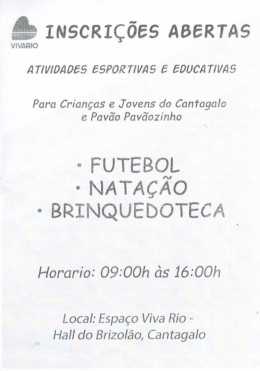 Inscrições abertas para atividades esportivas para crianças e jovens do Cantagalo e do Pavão-Pavãozinho