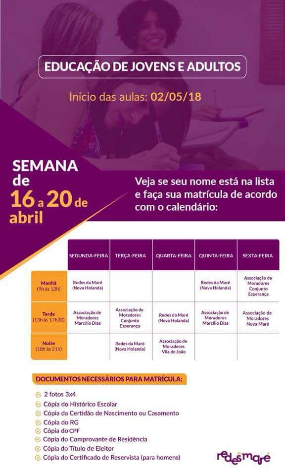 Inscrições abertas para Ensino de Jovens e Adultos, no Complexo da Maré