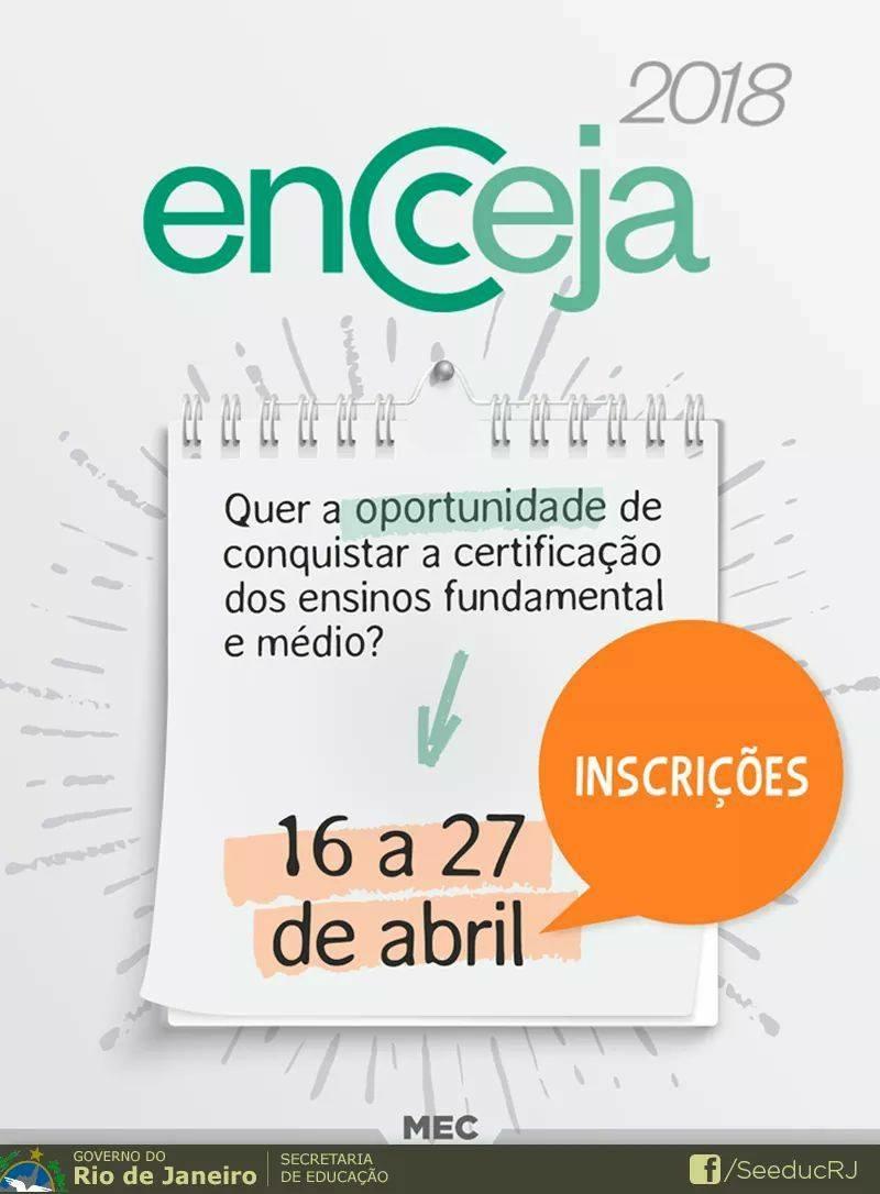 Inscrições abertas para Encceja 2018; Sistema oferece certificado dos ensinos fundamental e médio