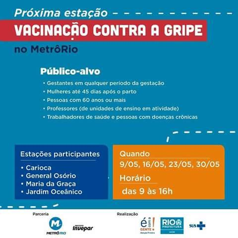 Metrô Rio faz campanha de vacinação contra gripe; veja estações que participam