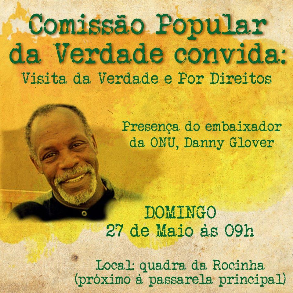 Danny Glover, embaixador da ONU, visitará Rocinha no próximo domingo (27)