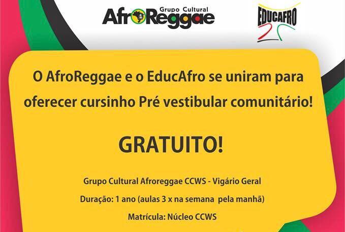 Afroreggae abre inscrições para pré-vestibular comunitário em Vigário Geral
