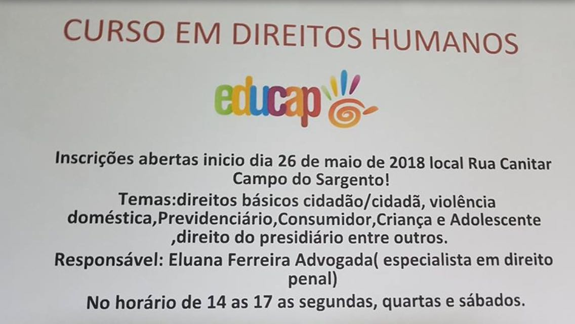 Curso em Direitos Humanos acontece no Educap
