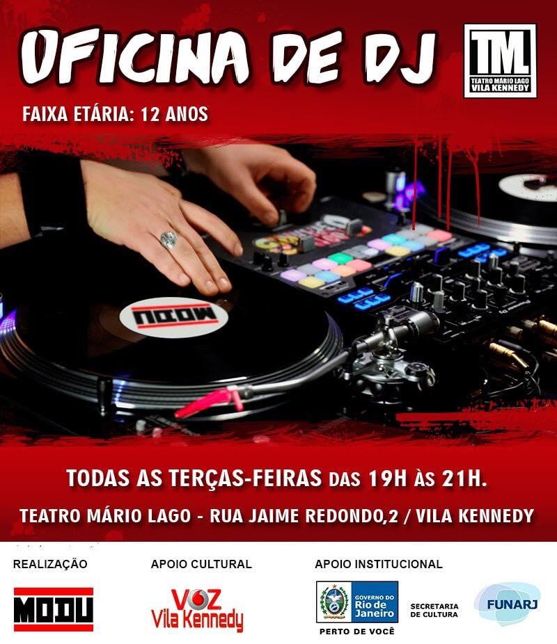 Oficina de DJ gratuita no Teatro Mario Lago, na Vila Kennedy