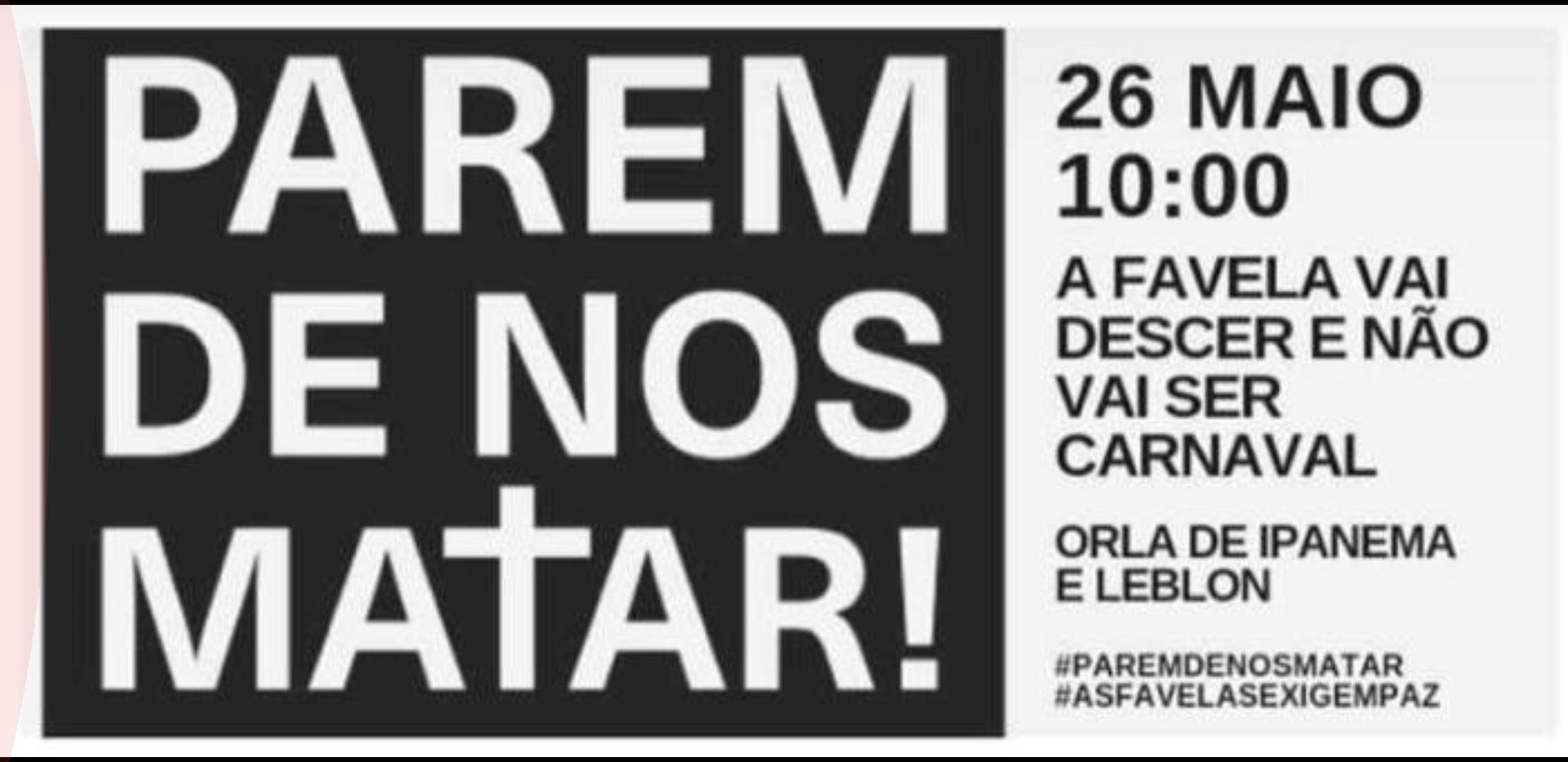 """Ato """"Parem de nos Matar"""" reúne comunidades contra mortes no Rio"""