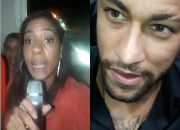 Moradora do Jacaré entrevista Neymar com microfone de Karaokê