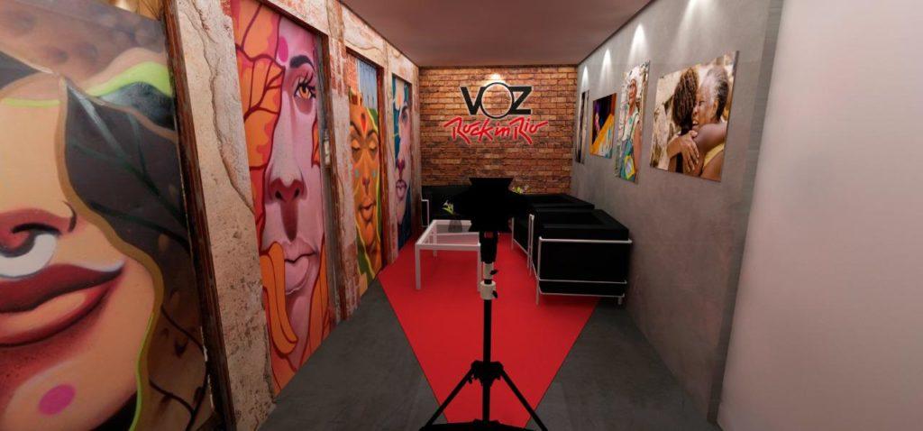 Estúdio Voz das Comunidades no Rock In Rio. Foto: reprodução