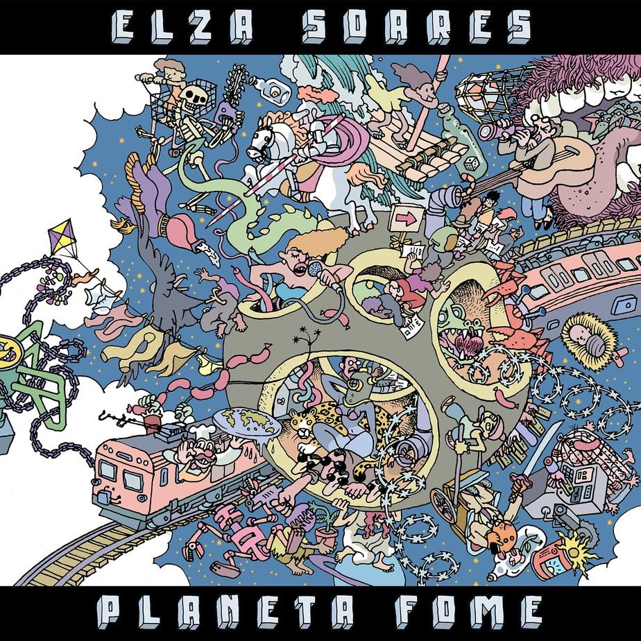 """Capa do CD """"Planeta Fome"""", assinada por Laerte."""