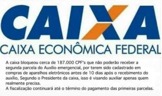 Caixa Econômica Federal NÃO bloqueou auxílio para 187 mil CPFs