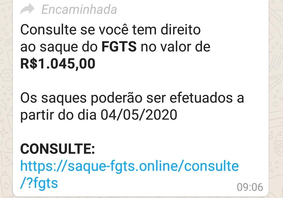 Link para consulta do FGTS é falso. NÃO clique nele