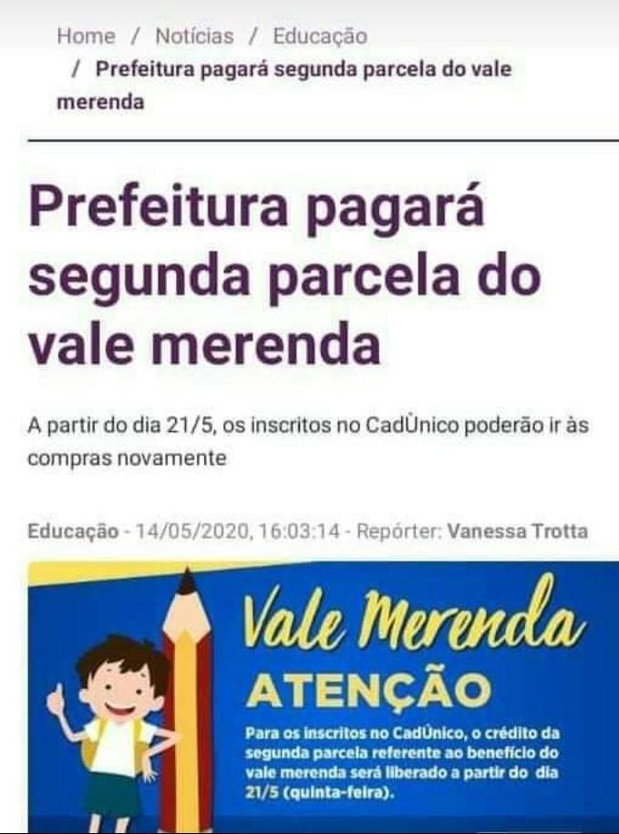 Vale-merenda NÃO é um programa social da Prefeitura do Rio