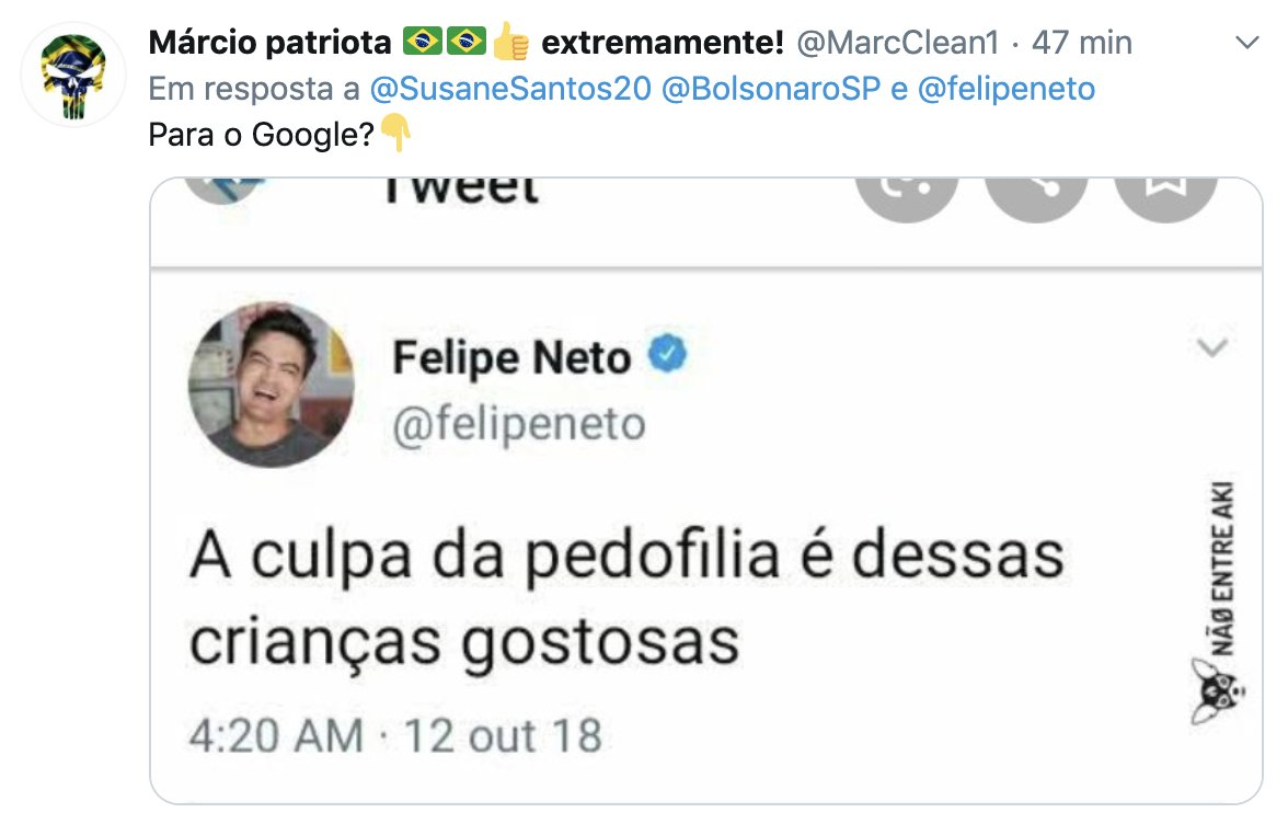 Twitter sobre pedofilia NÃO é de Felipe Neto
