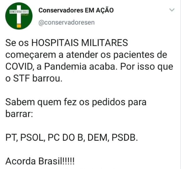 O STF NÃO proibiu hospitais militares de atender pacientes civis com Covid-19
