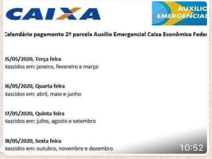 Caixa NÃO divulgou calendário da segunda parcela do auxílio emergencial