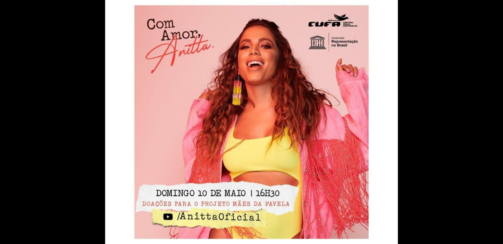 Anitta anuncia live para ajudar Projeto Mães da Favela da CUFA