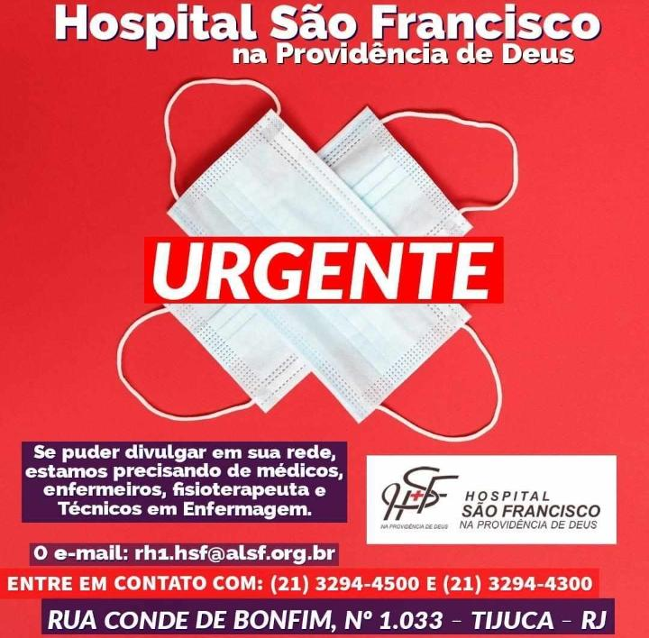 Hospital São Francisco na Providência de Deus tem vagas abertas para profissionais de saúde