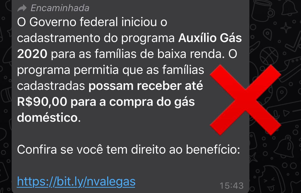 Link para cadastro de famílias ao Auxílio Gás 2020 NÃO é verdadeiro
