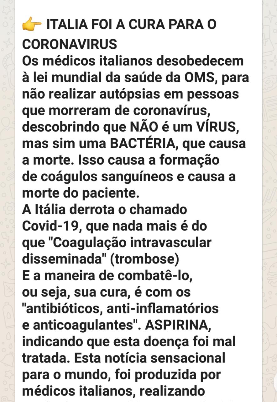 Médicos italianos NÃO afirmaram que o Covid-19 é causado por bactérias
