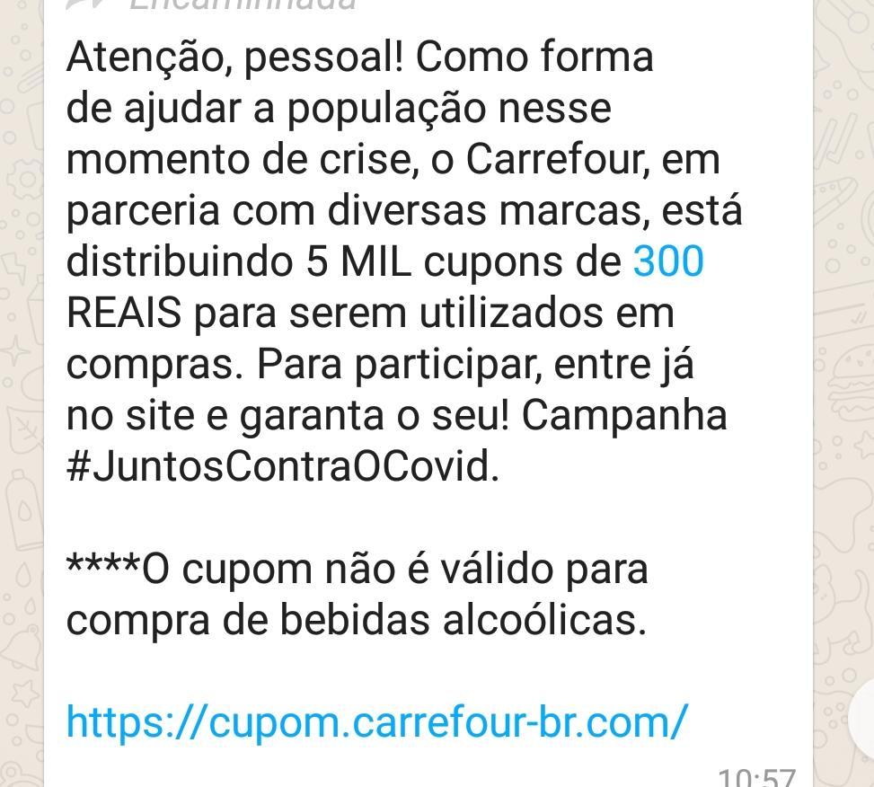 Carrefour NÃO está distribuindo cupons de 300 reais
