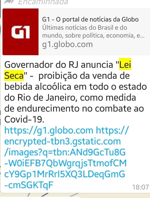 Lei Seca NÃO foi anunciada por governador do Rio de Janeiro