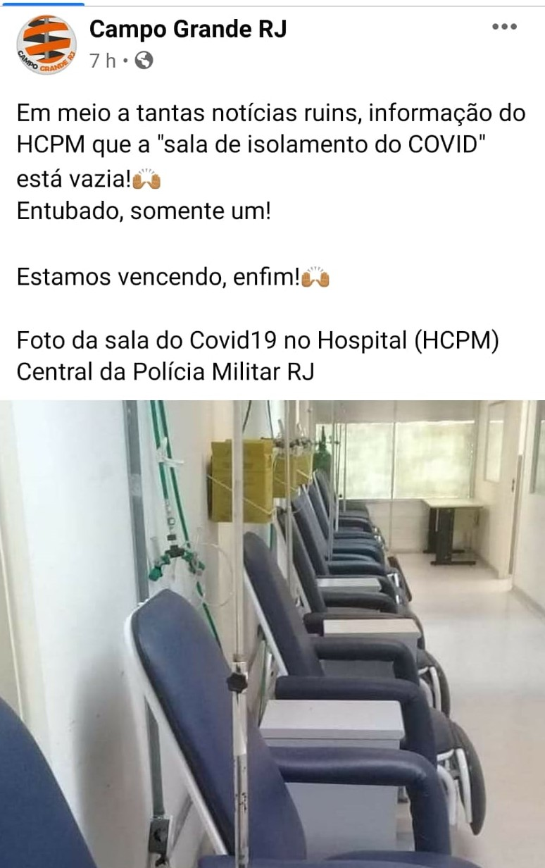 Não existe apenas uma pessoa internada por Covid-19 no HCPM do Rio de Janeiro