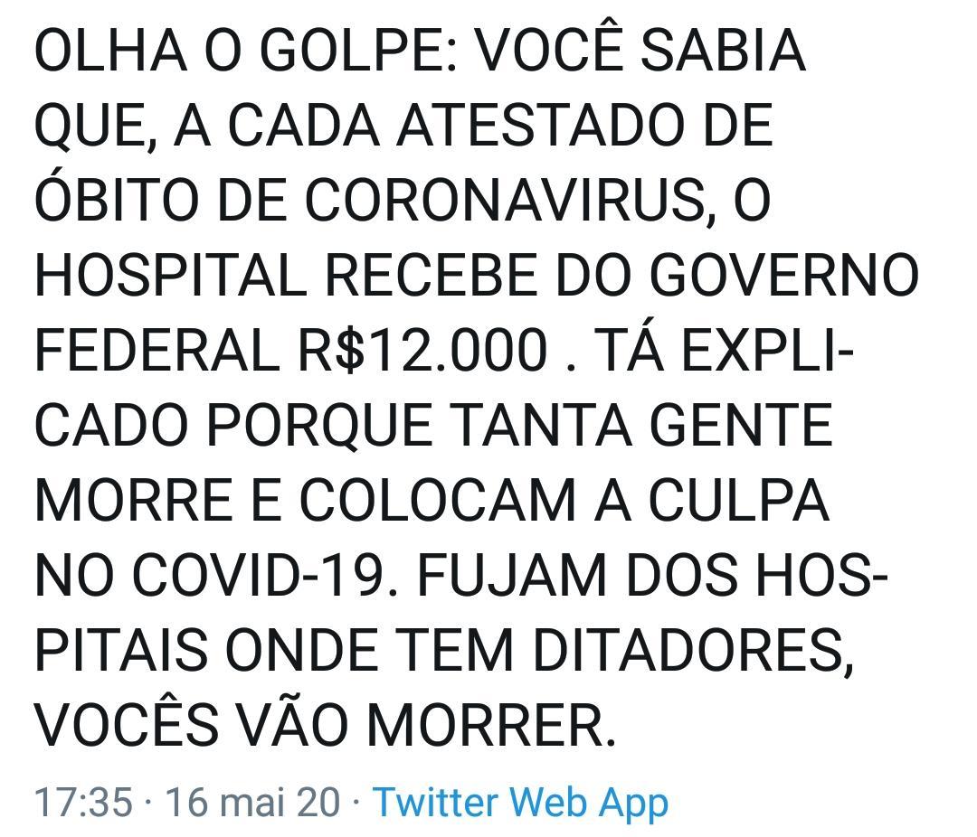 Ministério da Saúde NÃO repassa R$12 mil por cada morte causada por Covid-19 em hospitais