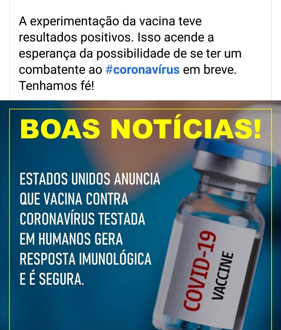 Aplicação de vacina contra o Covid19 tem resultados positivos nos EUA; eficácia ainda será comprovada após novos testes