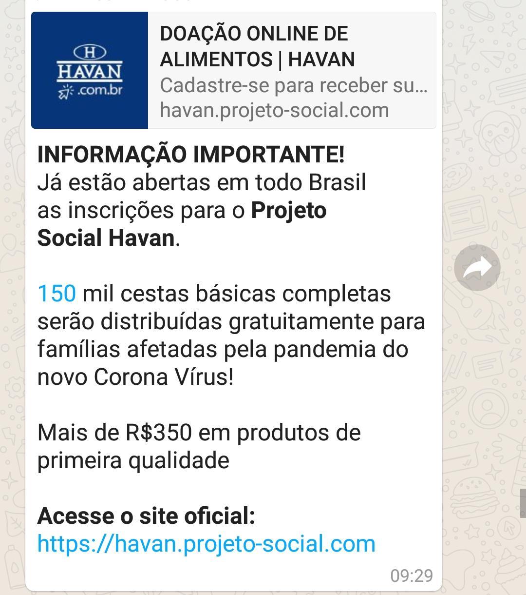 Lojas Havan Não estão distribuindo cestas básicas
