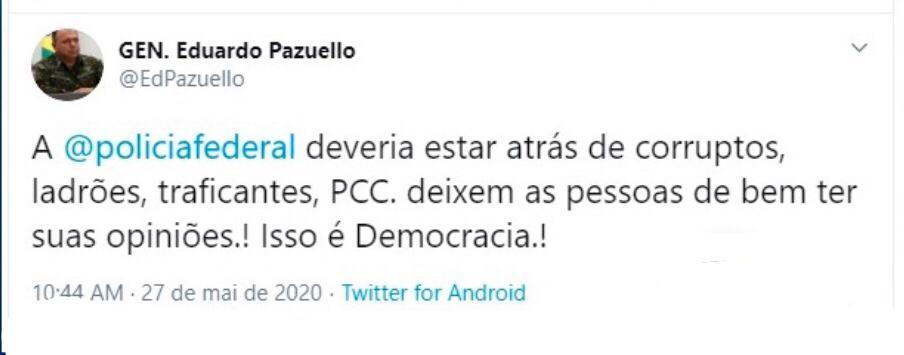 Eduardo Pazuello NÃO falou sobre a polícia federal no Twitter