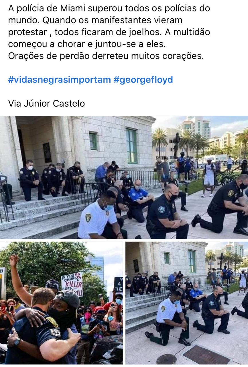Polícia de Miami se juntou a manifestantes em protesto antirracista
