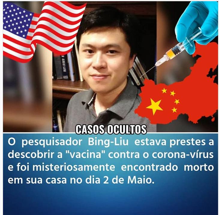Pesquisador Chinês morto nos EUA, NÃO estava prestes a descobrir a vacina da Covid-19