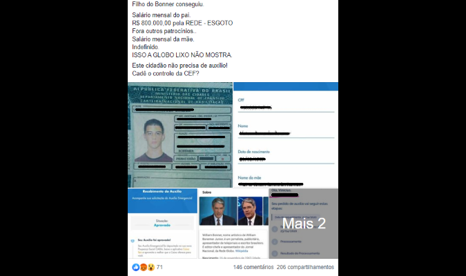 Filho de William Bonner e Fátima Bernardes recebeu auxílio emergencial do Governo Federal